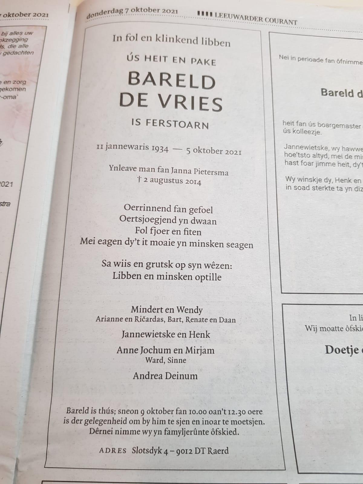 In Memoriam - Bareld de Vries